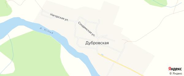 Карта Дубровской деревни в Архангельской области с улицами и номерами домов