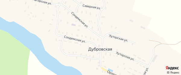 Хуторская улица на карте Дубровской деревни с номерами домов