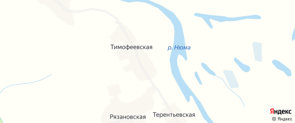 Карта Тимофеевской деревни в Архангельской области с улицами и номерами домов