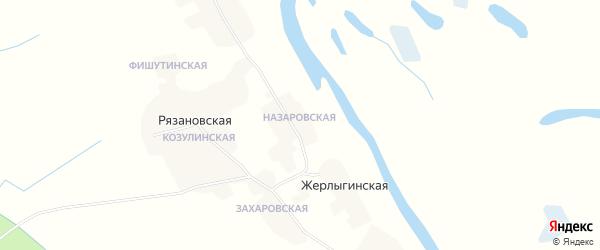 Карта Терентьевской деревни в Архангельской области с улицами и номерами домов
