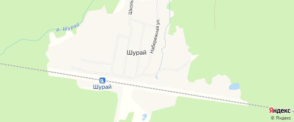 Карта поселка Шурая в Архангельской области с улицами и номерами домов
