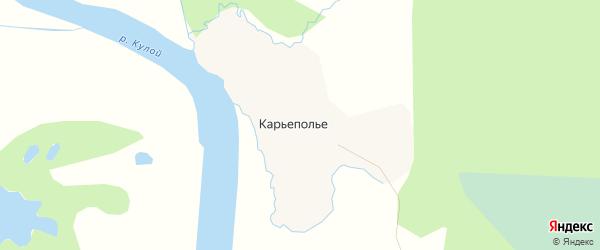 Карта деревни Карьеполья в Архангельской области с улицами и номерами домов