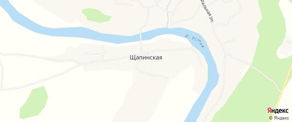 Карта Щапинской деревни в Архангельской области с улицами и номерами домов