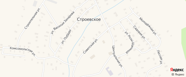 Советская улица на карте Строевского села с номерами домов