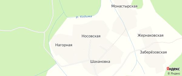 Карта Носовская деревни в Архангельской области с улицами и номерами домов