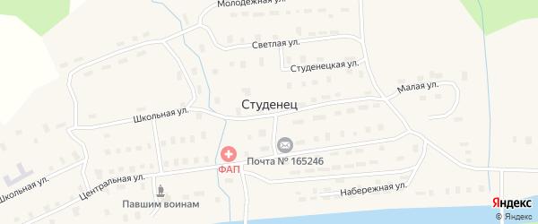 Центральная улица на карте поселка Студенца с номерами домов