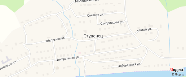 Светлая улица на карте поселка Студенца с номерами домов