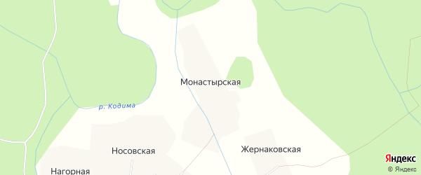 Карта Монастырской деревни в Архангельской области с улицами и номерами домов