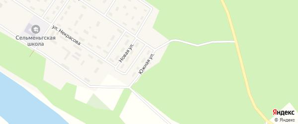 Южная улица на карте поселка Сельменьги с номерами домов