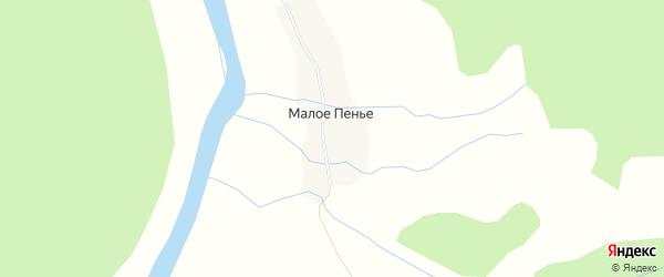 Карта деревни Малого Пенья в Архангельской области с улицами и номерами домов