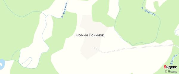 Карта деревни Фомина Починка в Архангельской области с улицами и номерами домов