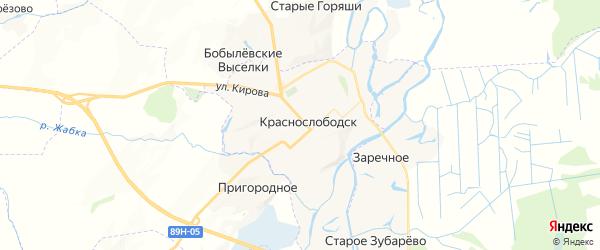 Карта Краснослободска с районами, улицами и номерами домов: Краснослободск на карте России
