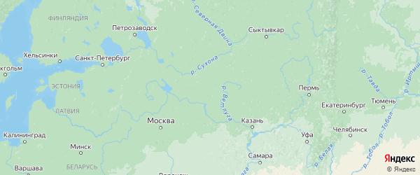 Карта Костромской области с городами и районами