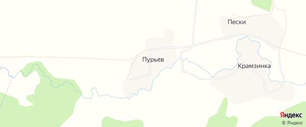 Карта поселка Пурьева города Первомайска в Нижегородской области с улицами и номерами домов