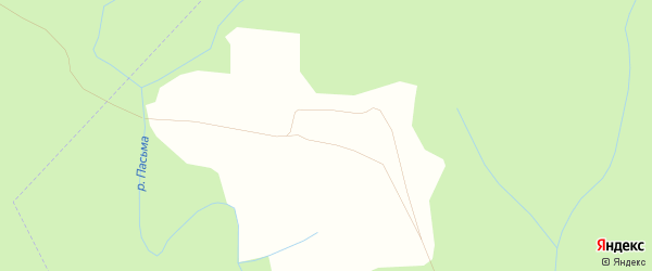 Карта деревни Малой Пасьмы в Костромской области с улицами и номерами домов