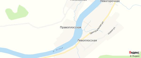 Карта Правоплосской деревни в Архангельской области с улицами и номерами домов