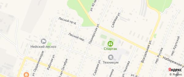 Пионерская улица на карте Неи с номерами домов