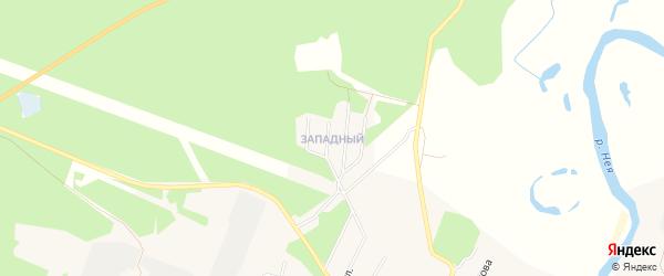 Карта Западного микрорайона города Неи в Костромской области с улицами и номерами домов