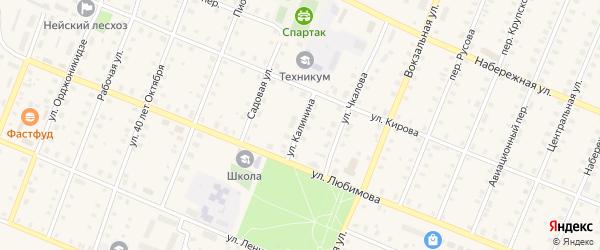 Улица Калинина на карте Неи с номерами домов