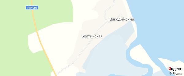 Карта Болтинской деревни в Архангельской области с улицами и номерами домов