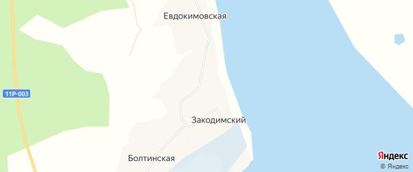 Карта Закодимского поселка в Архангельской области с улицами и номерами домов
