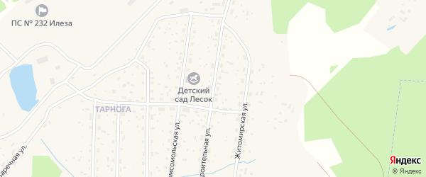 Строительная улица на карте поселка Илезы с номерами домов