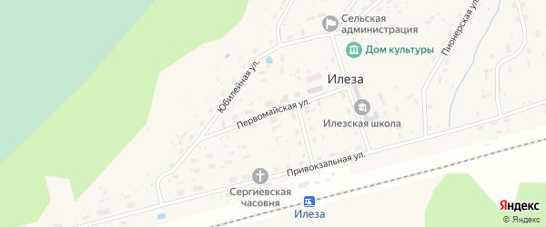 Первомайская улица на карте поселка Илезы с номерами домов