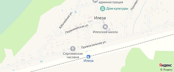 Привокзальный переулок на карте поселка Илезы с номерами домов