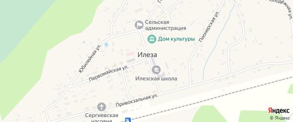 Средняя улица на карте поселка Илезы с номерами домов