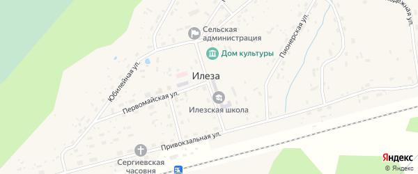 Школьная улица на карте поселка Илезы с номерами домов