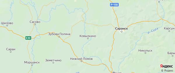 Карта Ковылкинского района республики Мордовия с населенными пунктами и городами