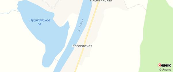 Карта Карповской деревни в Архангельской области с улицами и номерами домов