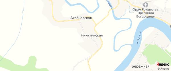 Карта Никитинской деревни в Архангельской области с улицами и номерами домов