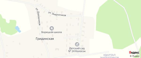 Квартал Энергетиков на карте Гридинской деревни с номерами домов