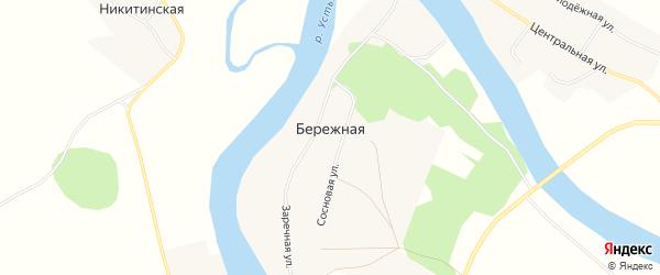 Карта Бережной деревни в Архангельской области с улицами и номерами домов