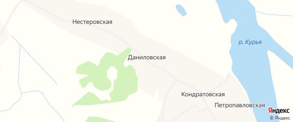 Карта Даниловской деревни в Архангельской области с улицами и номерами домов