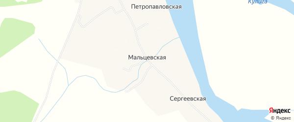 Карта Мальцевской деревни в Архангельской области с улицами и номерами домов