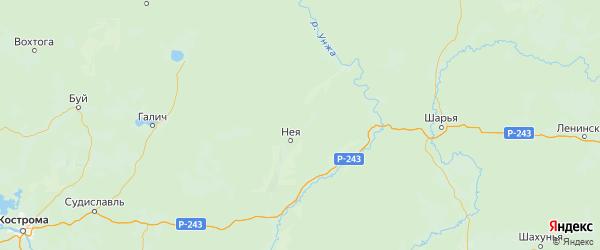 Карта Нейского района Костромской области с городами и населенными пунктами