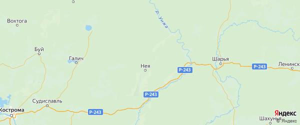 Карта Нейского района Костромской области с населенными пунктами и городами