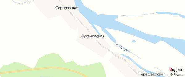 Карта Лухановской деревни в Архангельской области с улицами и номерами домов