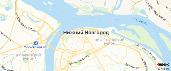 Карта Нижнего Новгорода с районами, улицами и номерами домов