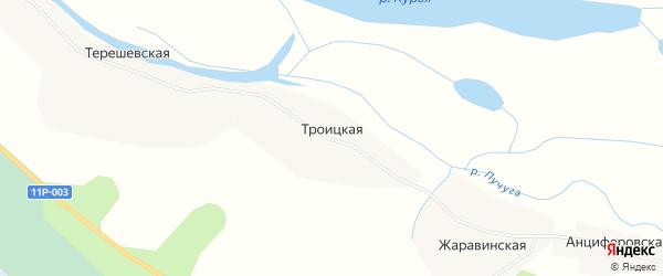 Карта Троицкой деревни в Архангельской области с улицами и номерами домов
