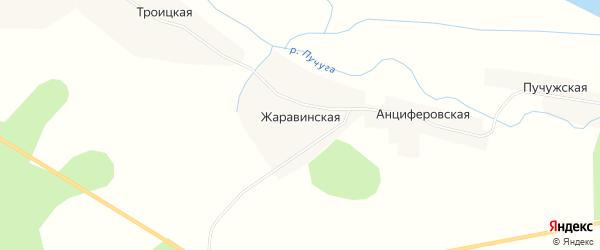 Карта Жаравинской деревни в Архангельской области с улицами и номерами домов