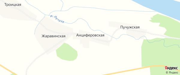 Карта Анциферовской деревни в Архангельской области с улицами и номерами домов