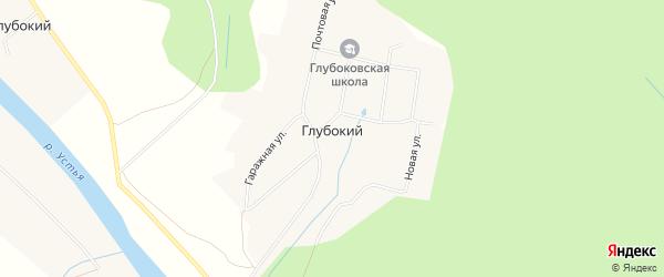 Карта деревни Глубокого в Архангельской области с улицами и номерами домов