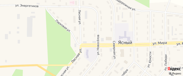 Улица Юности на карте Ясного поселка с номерами домов