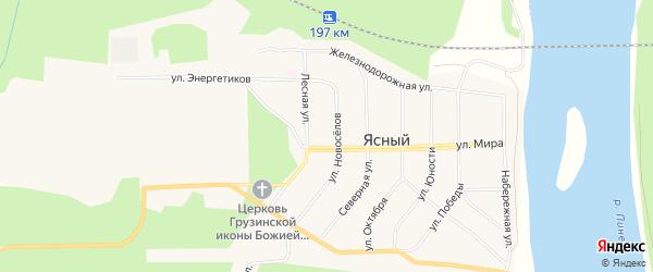 Карта Ясного поселка в Архангельской области с улицами и номерами домов
