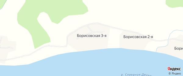 Карта Борисовская 3-я деревни в Архангельской области с улицами и номерами домов
