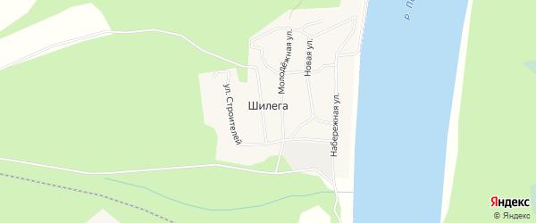 Карта поселка Шилеги в Архангельской области с улицами и номерами домов