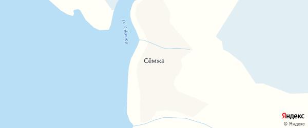Карта деревни Семжи в Архангельской области с улицами и номерами домов